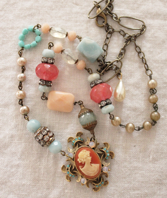 Coral Cameo Necklace