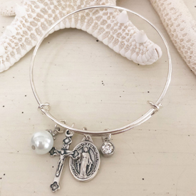 Wire Bangle with Catholic Medals