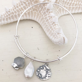 Wire Bangle with Shell & Moon